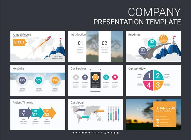 Presentation slide template for your company with infographic elements.
