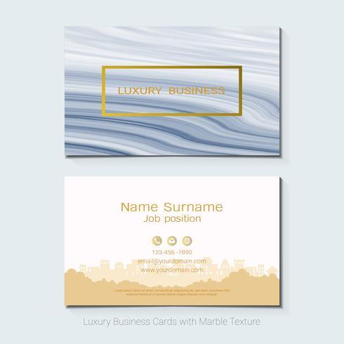 Las tarjetas de visita de lujo vector la plantilla, la bandera y la cubierta con la textura de mármol y los detalles de oro de la hoja en el fondo blanco.