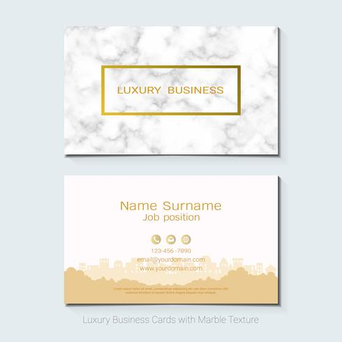 Luxusvisitenkarten vector Schablone, Fahne und Abdeckung mit Marmorbeschaffenheit und goldenen Foliendetails über weißen Hintergrund.