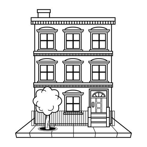 Lägenhet byggnad vektor