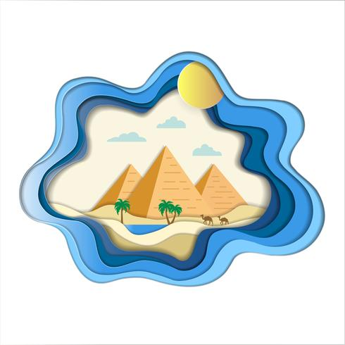 Paper art carve of pyramid amid desert landscape with camels and oasis background.