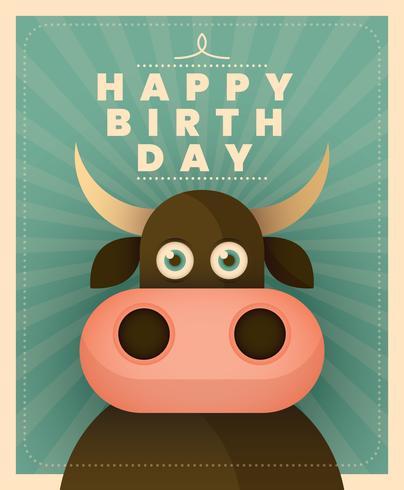 Tarjeta de cumpleaños animal vector