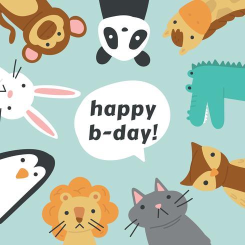 Animal amigos comemorando um aniversário