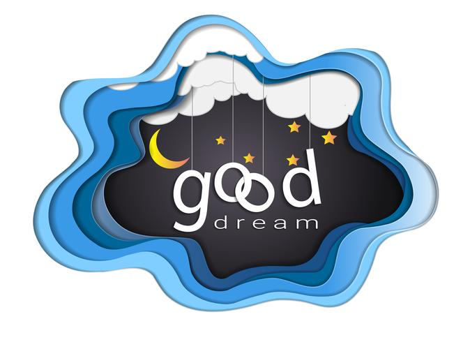 Good dream text design under the moon light and stars, Goodnight and Sleep well origami mobile concept.