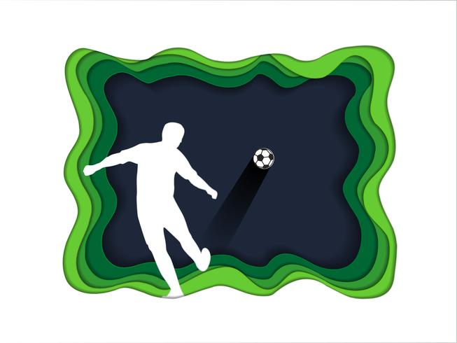 Paper art carve of soccer background with football player. vector