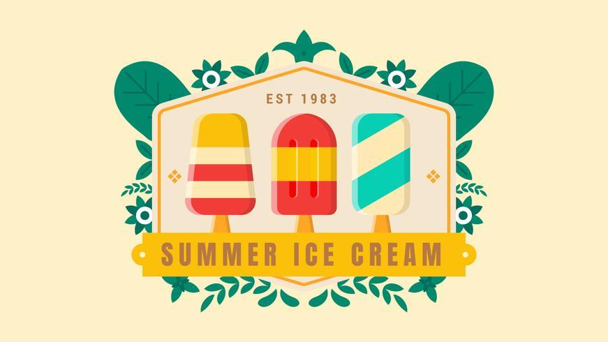 Sommer-Eiscreme-Abzeichen mit Blatt-Verzierung auf dem hellen Hintergrund