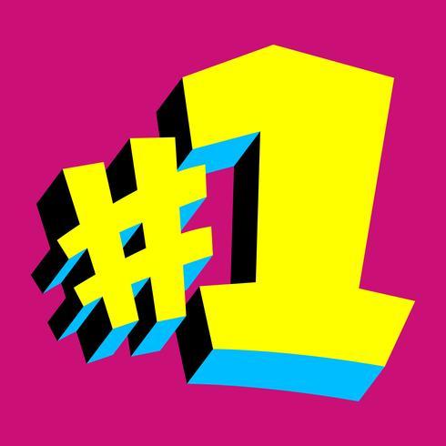 # 1 gráfico do texto do logotipo do número um