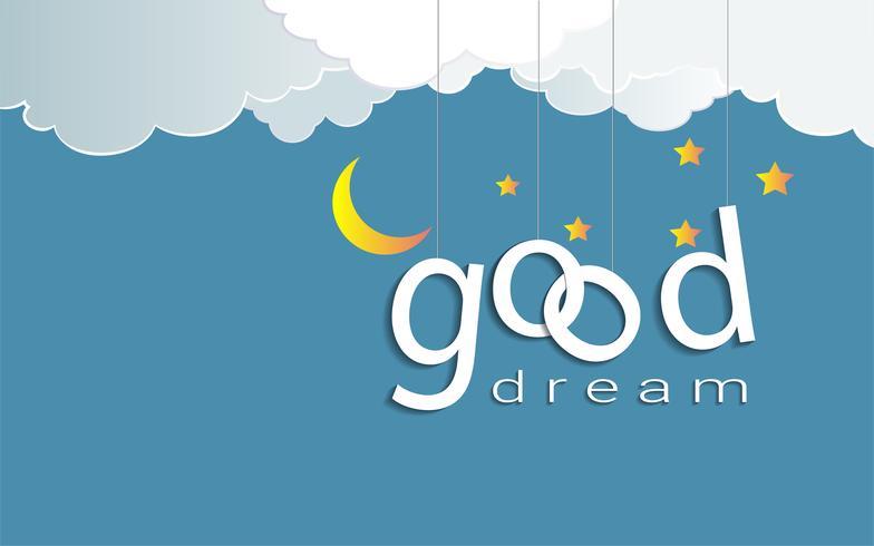 Buon disegno del testo dei sogni sotto la luce della luna e le stelle, Buonanotte e Dormire bene il concetto di origami mobile.