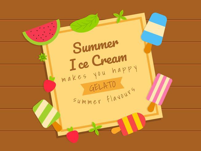Dépliant de la crème glacée d'été avec des fruits sur la table en bois