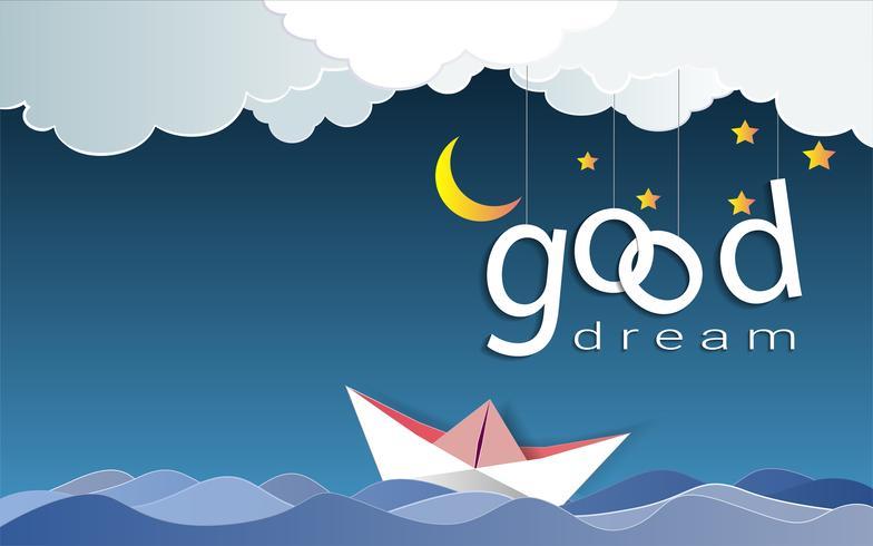 Buen diseño de texto ideal bajo la luz de la luna y las estrellas, Goodnight and Sleep y el concepto de origami para dispositivos móviles.