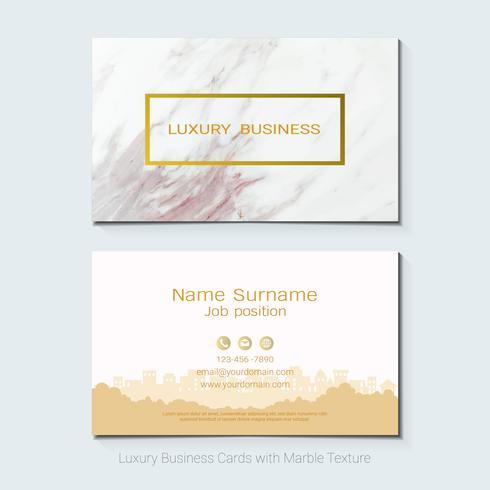 Modèle de vecteur de cartes de visite de luxe, bannière et couverture avec texture marbre et détails dorés sur fond blanc.