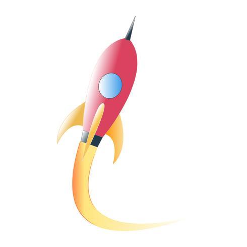 Lanciare il razzo spaziale volando su sfondo bianco.