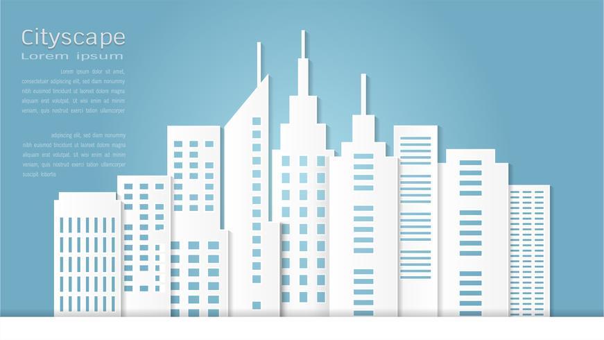 Estilo del arte de papel para el edificio arquitectónico y el fondo del paisaje urbano.