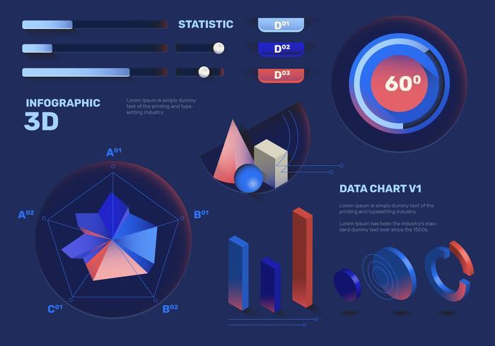 elegant 3d infographic element vektor uppsättning