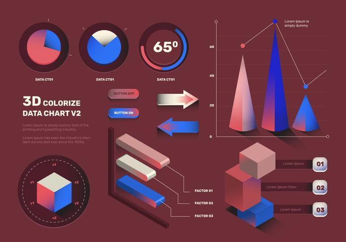Moderne 3D Infographic elementen Vector Set