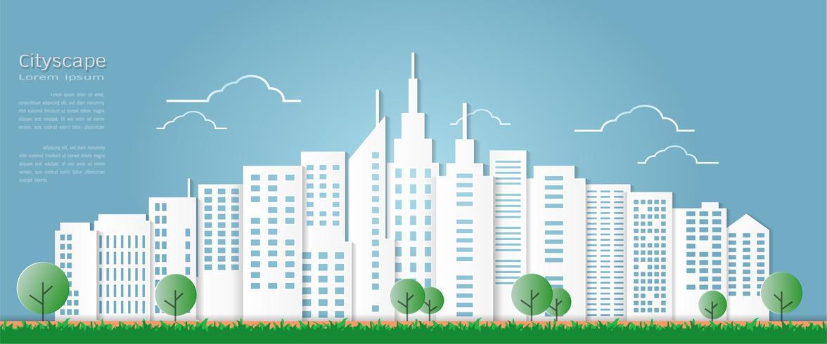 Estilo da arte de papel para a construção arquitectónica e o fundo da arquitectura da cidade. vetor