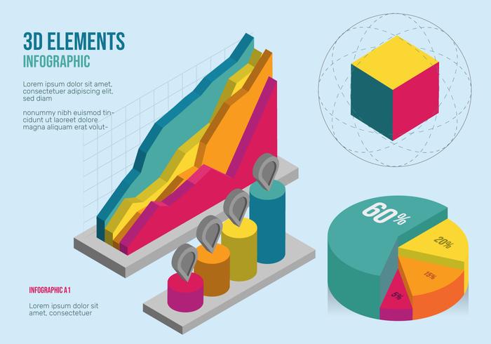 3D Infographic elementen Vector Set