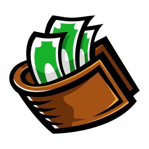 Icona di vettore di soldi del portafoglio