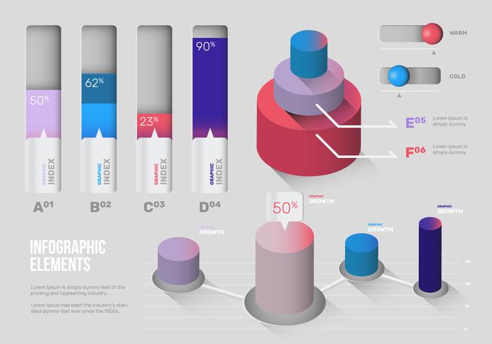 Conjunto de vectores de elementos de infografía 3D moderno