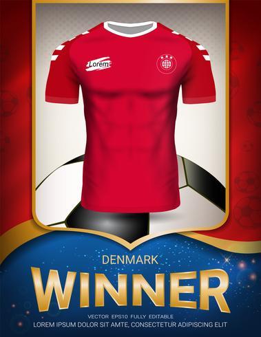 Coppa del calcio 2018, concetto vincitore della Danimarca. vettore