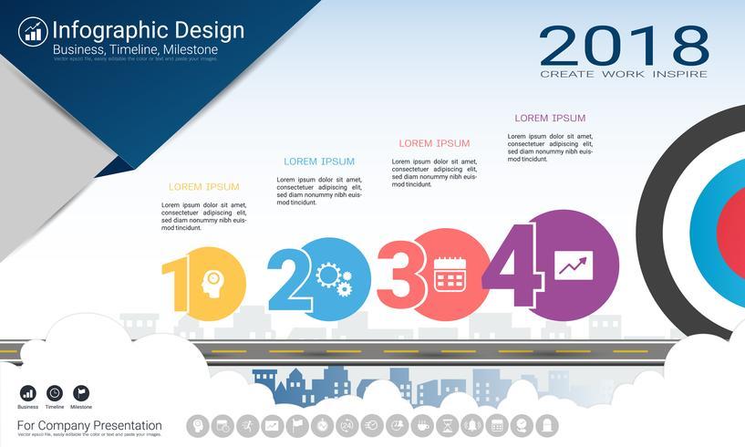 Rapporto infografica aziendale, cronologia di Milestone o mappa stradale con opzioni del diagramma di flusso Process 4.