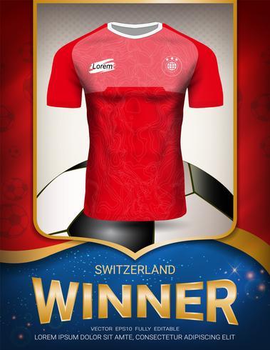 Copa de fútbol 2018, concepto ganador Suiza. vector