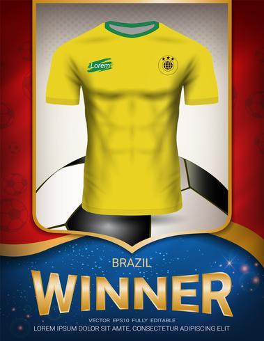 Copa do futebol 2018, conceito de vencedor do Brasil. vetor