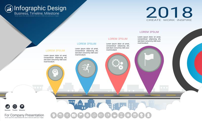 Zakelijk infographicsrapport, Milestone-tijdlijn of routekaart met processtroomschema 4 opties.
