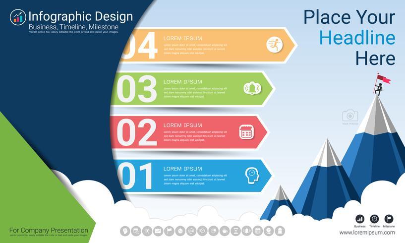 Relatório de infográficos de negócios, cronograma de milestone ou roteiro com opções de fluxograma de processo 4.