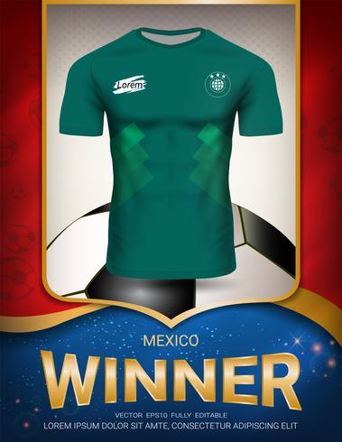 Copa de fútbol 2018, concepto ganador de México. vector