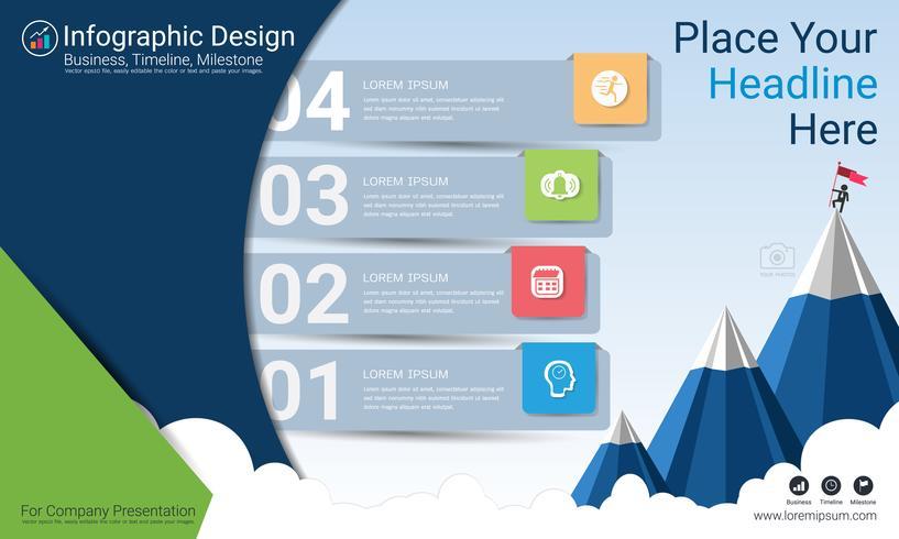 Informe de infografías de negocios, cronograma de Milestone o hoja de ruta con opciones de diagrama de flujo de proceso 4.