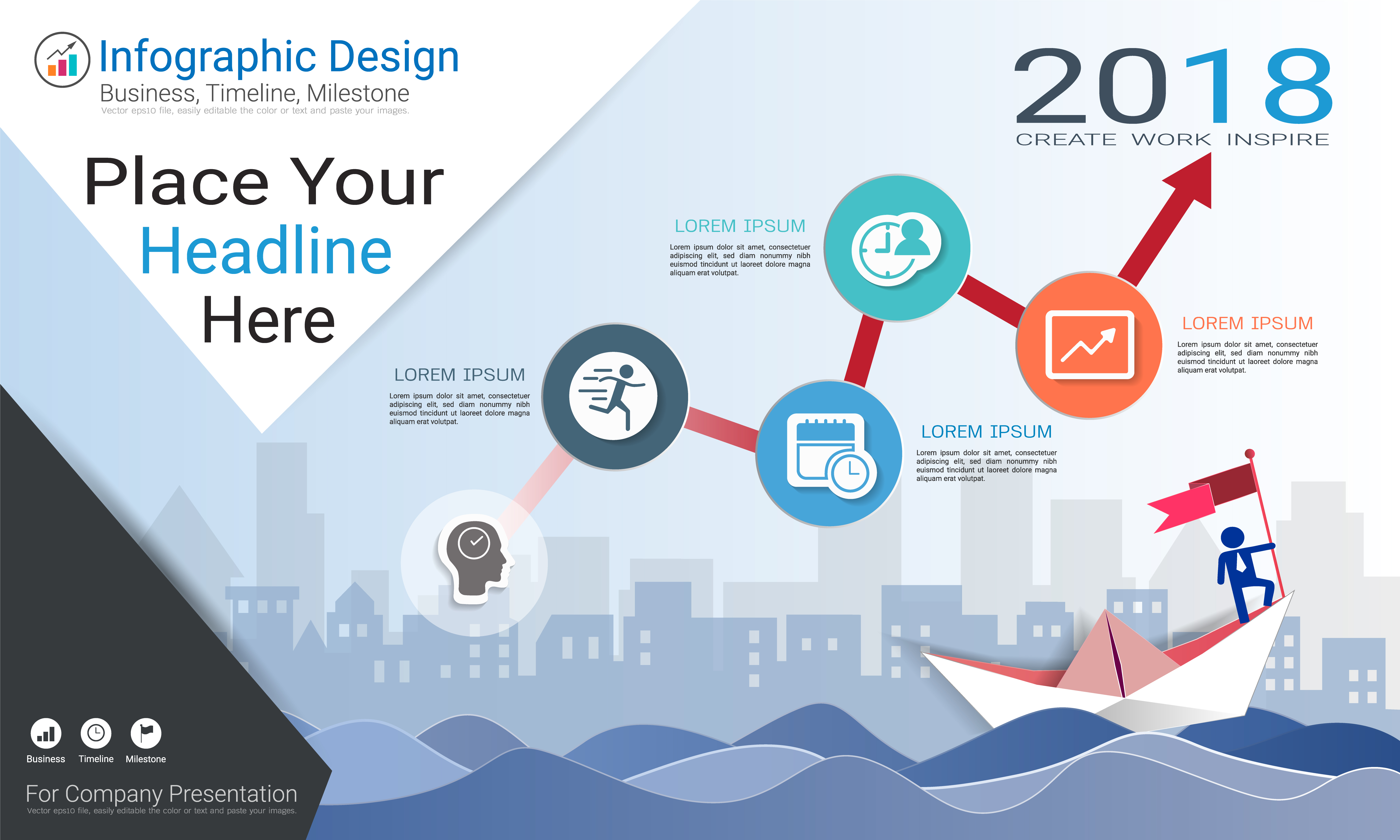 Business Infographics Template  Milestone Timeline Or Road Map With Process Flowchart 4 Options