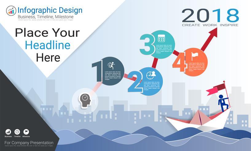 Plantilla de infografías de negocios, línea de tiempo de Milestone o Mapa de ruta con opciones de diagrama de flujo de proceso 4.