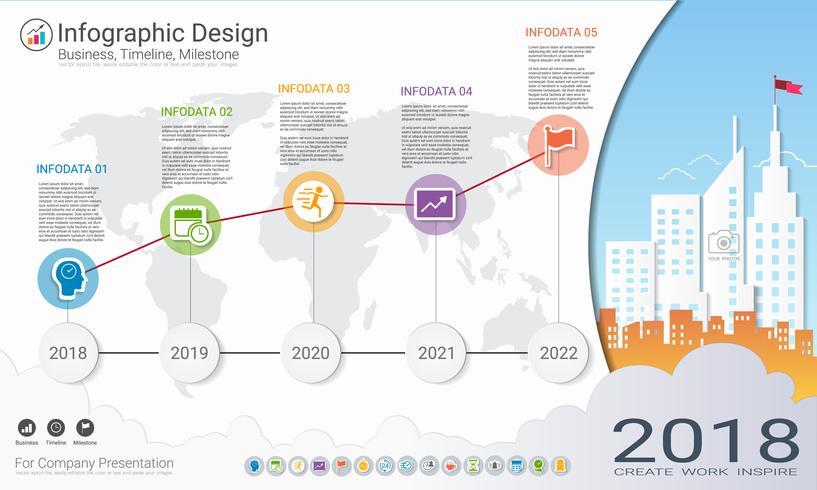 Modèle d'infographie d'entreprise, chronologie du jalon ou feuille de route avec options de l'organigramme 5.