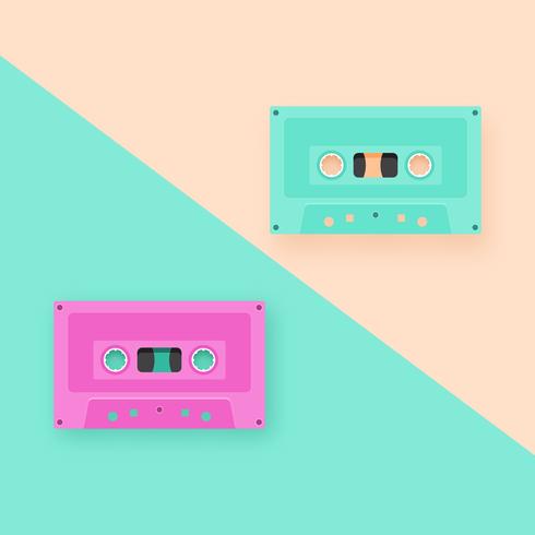 Cintas de cassette retro de fondo pop