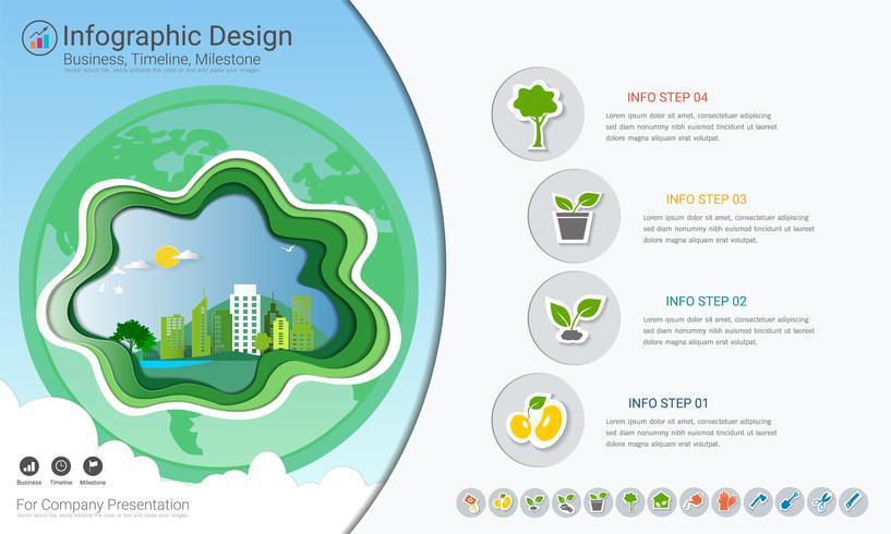 Le piante che crescono infographics di cronologia con le icone impostate, salvano il mondo e vanno concetto verde o modello del diagramma di affari verde.
