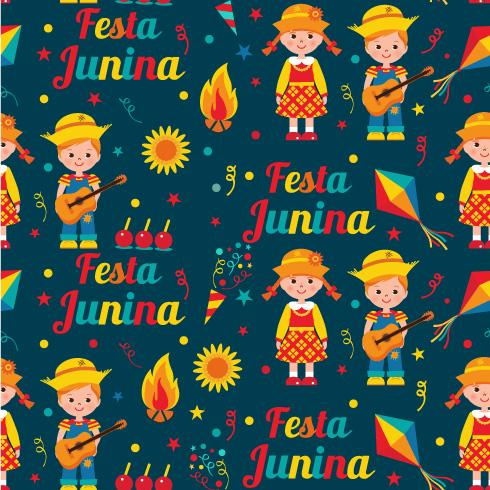 Seamless pattern of festa Junina village festival in Latin America. Icons set in bright color. Flat style decoration.