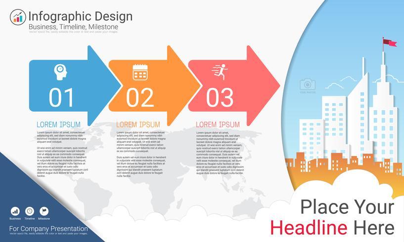 Informe de infografías de negocios, cronograma de Milestone o hoja de ruta con opciones de diagrama de flujo de proceso 3.