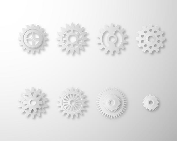 Inzameling van Toestellen en tandradwiel dat op witte achtergrond wordt geïsoleerd. Set van witte versnellingen papier kunststijl.