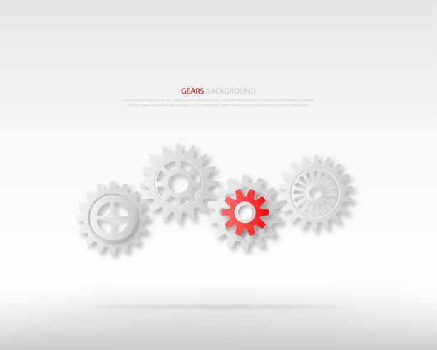 Poder de liderança ou conceitos de trabalho em equipe. Rodas de engrenagens cinzentas e uma engrenagem vermelha no fundo branco.
