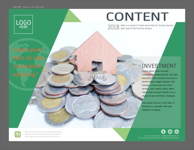 Presentatie lay-out ontwerpsjabloon voor zaken of financiën en beleggen.