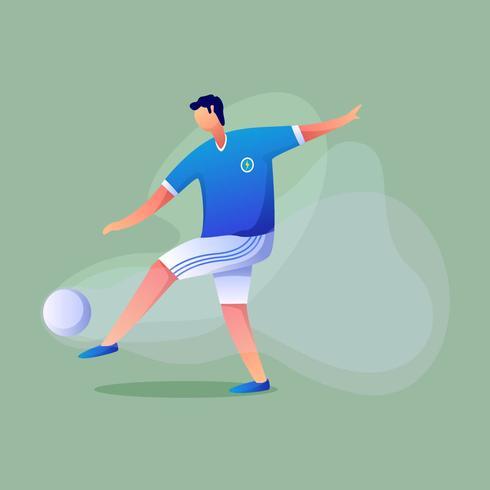Voetbalspeler schopt de bal