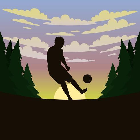 Fotbollsspelare silhuett