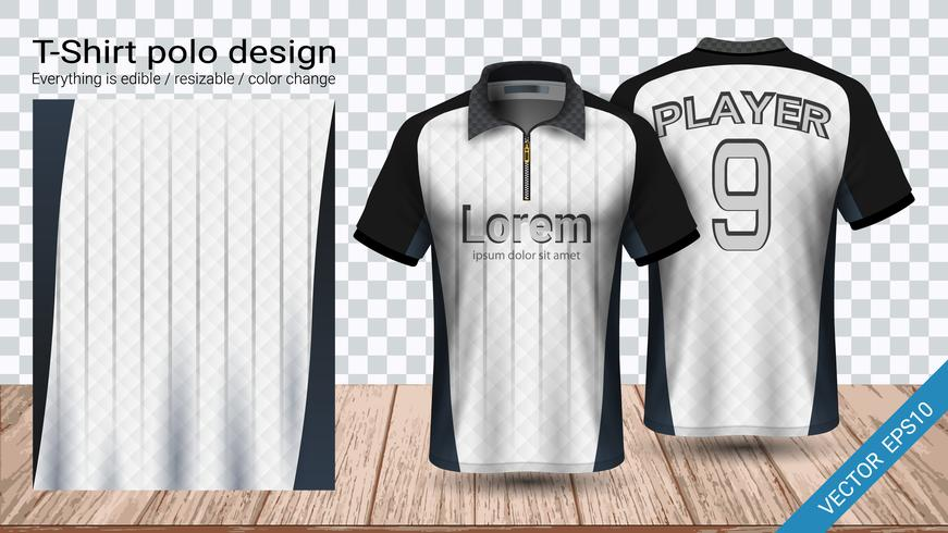 Polo t-shirt design with zipper, Soccer jersey sport mockup template for football kit or activewear uniform.