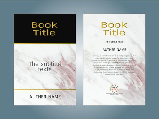 Cover boek ontwerp lay-out sjabloon witte marmeren textuur.