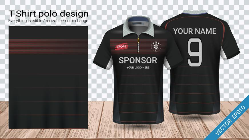 e4b3ec43 Polo t-shirt design with zipper, Soccer jersey sport mockup template for  football kit or activewear uniform.