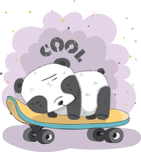 Joli petit panda sur une planche à roulettes