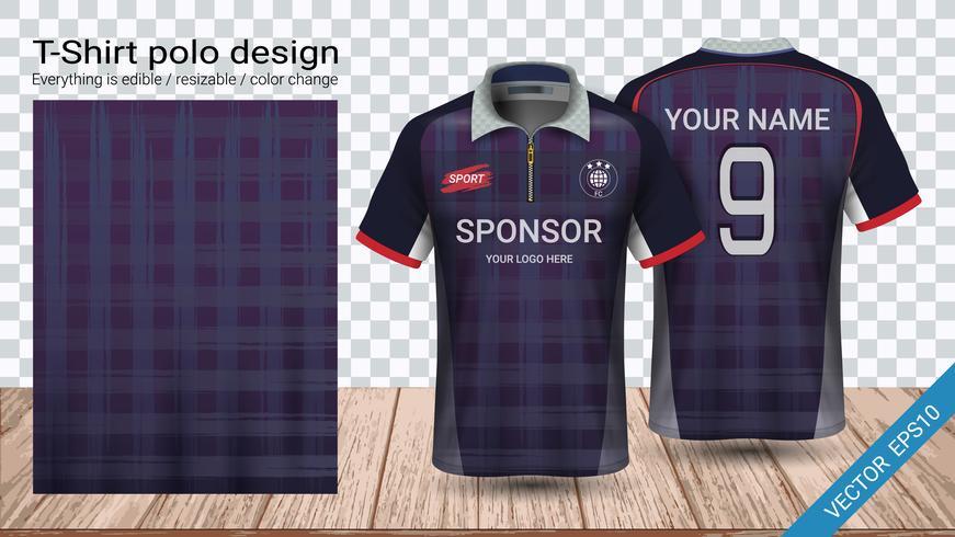 T-shirt polo con cerniera, modello mockup di Soccer jersey sport per kit calcio o divisa activewear.
