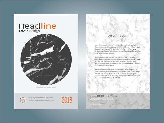 Cubrir la plantilla de diseño de diseño de libro blanco mármol textura