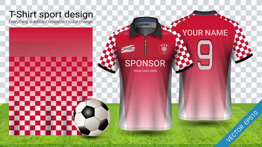Diseño de camiseta de polo con cremallera, plantilla de maqueta deportiva de jersey de fútbol para el equipo de fútbol o uniforme de ropa deportiva.